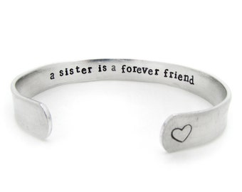 sister bracelet, sister jewelry, hidden secret message, unique gift, a sister is a forever friend, best friend gift, handmade jewelry