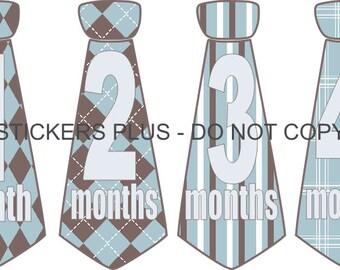 Baby Boy Monthly Tie Stickers Milestone Necktie Neck Tie Baby Month Stickers Blue Brown 2 Stripes Plaids  1-12 Months  - Gift