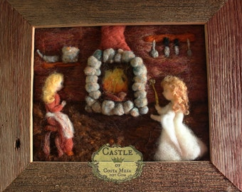 "Cinderella Meets Her Fairy Godmother. Fairy Tale Needle-Felted framed Fiber Artwork. 8""x10"" inches by Nunu. Castle of Costa Mesa"