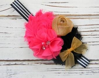 Hot Pink, Black and Gold Shabby Chic Headband - Chiffon Headband - Shabby Chic Headband - Baby Headband