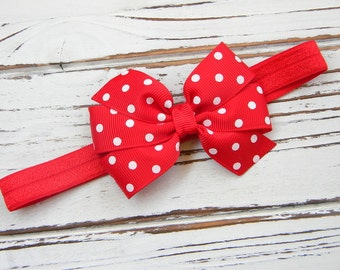 Red Bow Headband - Newborn Bow Headband - Red Girls Bow Headband - Red Polka Dot Bow Headband