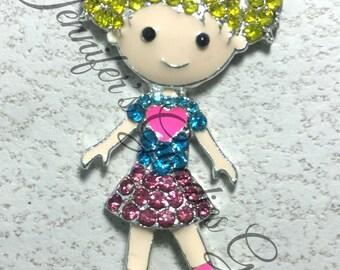 25*50mm, Roller Girl Rhinestone Pendant, Skater Girl Pendant, Girl Pendant, Roller Skate Rhinestone Pendant, Chunky Necklace Beads