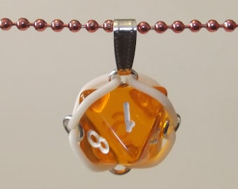 Orange D8 Caged Chainmaille Dice Necklace