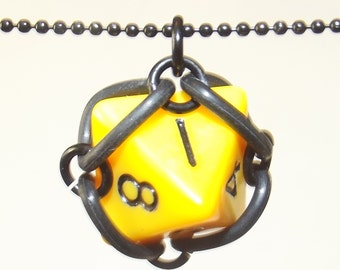 D8 Caged Chainmaille Dice Necklace