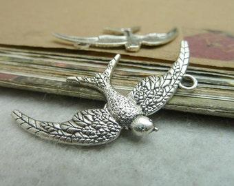 50pcs 23x45mm ancient silver  Bird  Charm Pendant
