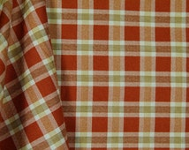 Rusty Brown Plaid Fabric, Fall and Thanksgiving Fabrics, Sienna by Lisa Debee Schiller for Windham, 100% Cotton sold By-The-Yard