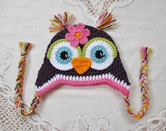 Dark Purple and Medium Pink Crochet Owl Hat - Photo Prop - Available in Any Size or Color Combination