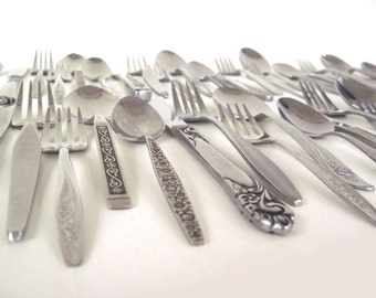 Mismatched Stainless Flatware Set Mid Century Modern Silverware Complete Service for 12, 8, 6, 4, or single place settings