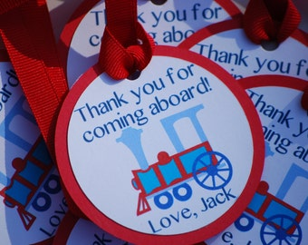 Train Choo Choo Red and Blue Birthday Party Favor Tags/ Gift Tags