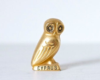 Athena Owl - Tiny Bird Of Wisdom in Greek Mythology Vintage Brass Animal - Souvenir from Cyprus