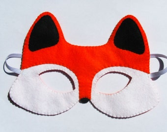 Fox mask kids and adults - Orange Black White felt - handmade forest animal costume for boy girl - dress up play accessory Theatre roleplay