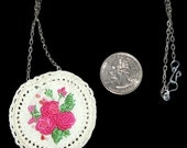 Embroidered and Crocheted Pendant on Chain, 2 Inches in Diameter