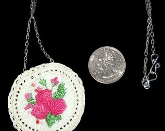 REDUCED - Embroidered and Crocheted Pendant on Chain, 2 Inches in Diameter