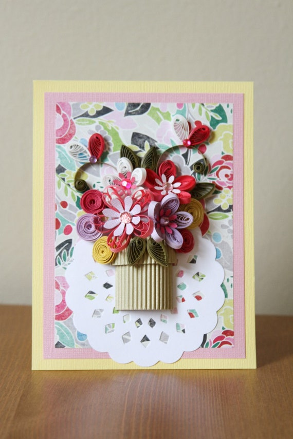 Handmade greeting quilling paper card with amazing flowers