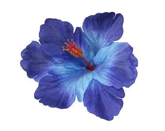 DEBRA Blue Tiki Hibiscus Hair Flower
