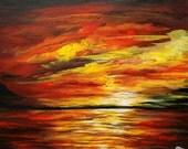 "Sunset original, acrylic painting on 16"" x 20"" stretched canvas, Landscape painting, unframed art, office art, wall decor, Seascape art"