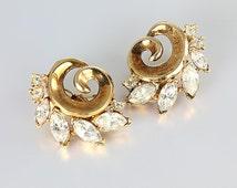 Crown Trifari rhinestone Earrings, Alfred Philippe 1950s jewelry, Gold Clip on Wedding Earrings