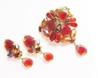 Vintage Givre Rhinestone Dangle Brooch Earrings signed West Germany 1950s