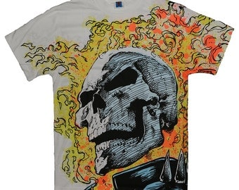 Marvel Ghost Rider All Over Print Shirt 1991 Vintage