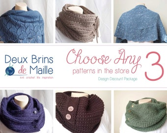 Knitting Patterns, Discount Patterns,  Choose any 3 patterns in the store