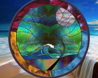 "Ocean Wave Stained Glass Window Panel Wave Tree Moonlight Round 24"" Diameter"
