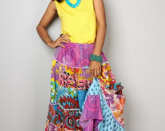 Patchwork Skirt / Comfy Skirt / Maxi skirt : Boho Patchwork Collection No.1
