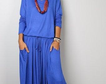 Blue Maxi Dress -  Long Sleeved Blue Maxi dress : Autumn Thrills Collection No.1s  (Best Seller)