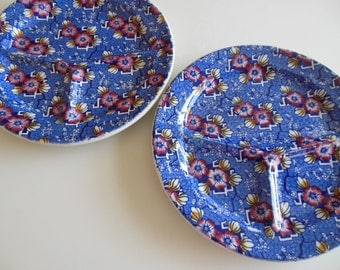 2 Luxor Burslem Transfer Divided Plate Grille Plate Grill plate John Steveton and Sons Made in England Chintz Plates Set of 2 Restaurant