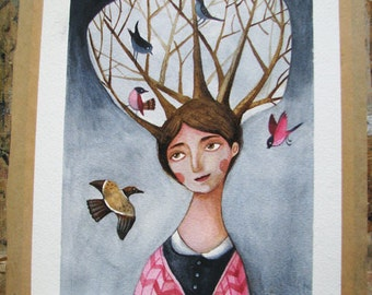 Mother of the birds illustration-original painting- original watercolor illustration-kids art-wall decor-bird illustration