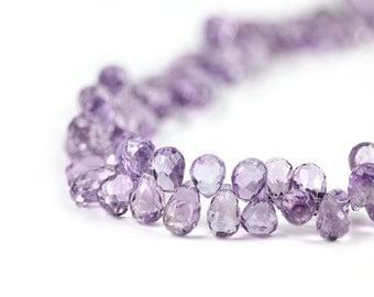 Amethyst Faceted Teardrop Briolettes 4 Brazilian Plum Purple Semi Precious Gemstone February Birthstone
