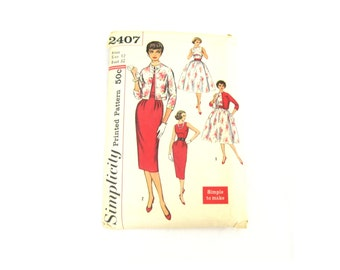 Midcentury Classic Dress and Jacket Pattern 1960s Size XS