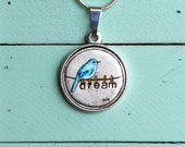 Bluebird Necklace, Bluebird Jewelry, Clothespins, Hand Painted, Metal, Dream, Hand Stamped, Necklace, Pendant, Jewelry, Michelle Meyer