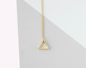 Medium Single Triangle Necklace (Gold) - Minimalist Jewellery