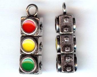 STOPLIGHT Charm. Silver Plated Enamel. 3D Traffic Stop Light. Semaphore. LARGE!