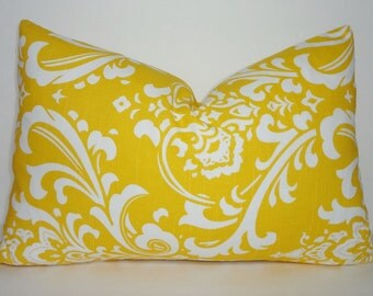 SALE Decorative Pillow Cover Corn Yellow/White Damask Pillow Cover Throw Pillow Lumbar 12x18