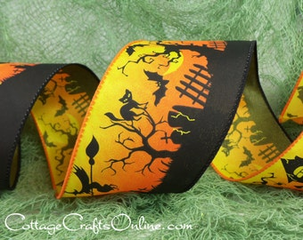 "Halloween Wired Ribbon, 2 1/2"",  Haunted House, Witch, Black Cat Print - THREE YARDS -  ""Graveyard Night"" Wire Edged Ribbon"