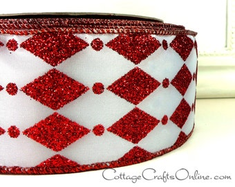 """Christmas Wired Ribbon, 2 1/2"""" Red Glitter Diamond and Dot on White  - TWO & 1/8 YARDS - Offray """"Zanni"""" #70220 Harlequin Wire Edged Ribbon"""