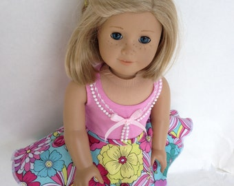 18 inch Doll Outfit, Flowered Circle Skirt and Petticoat Outfit