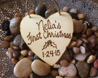 Personalized Baby's First Christmas Ornament Hand Engraved Wood Heart