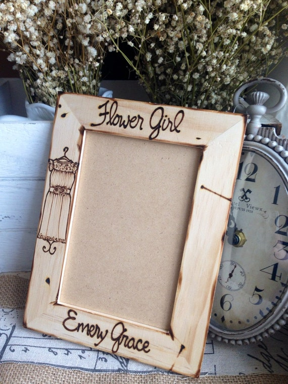 Flower Girl Personalized Frame with her DRESS Replicated Gift for Flower Girl Holds 4x6 Photo