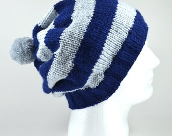 Knitted Slouchy Winter Beanie Hat - Oversized Cap/Toque with Stripes or Solid with a Pom-pom