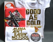 SALE* Gold Baby Gift Box. Good as Gold onesie, Mama bib, HipHop lullaby CD, Nippaz sticker & new baby Greeting card.