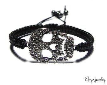 Black Skull Bracelet, Black Cord Bracelet, Mens Bracelet, Skull Jewelry, Men Gift, Mens Jewelry, Rope Bracelet, Black Bracelet, Gift for Him