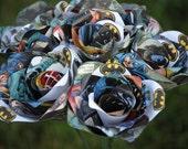 6 BATMAN Comic Book Roses.  Wedding, Birthday, Anniversary, Centerpiece. Gift. Custom Orders Welcome