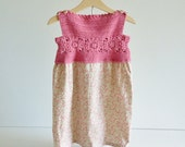 Toddler dress - age 2 - 3 years - coral pink - vintage style fabric - crochet yoke - summer dress
