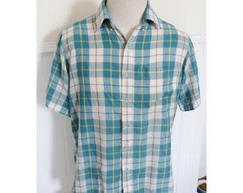 Vintage 1980s Blue & Yellow Plaid Shirt - L