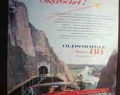 Vintage Magazine Original Promo Ad 1960's Oldsmobile Super 88 Skyrocket  - Great for Framing