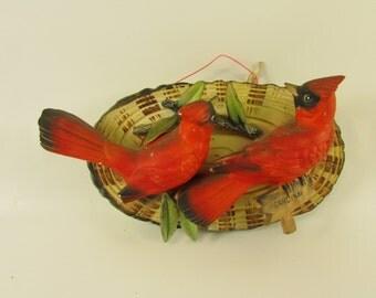 Vintage Norcrest Japan Wall Plaque of 2 Cardinals on a Log , Vintage Birds Vintage Cardinal, Vintage Wall Hanging, Vintage Ceramics