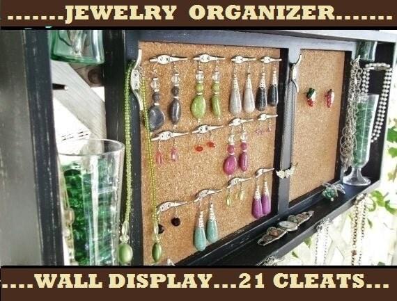 "Jewelry Organizer Wall Display Shelf...21 CLEATS.. ""Black over Ivory"""