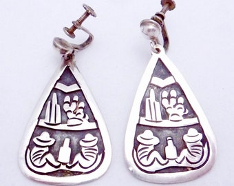 Vintage Taxco Mexico Mexican Sterling Silver Large Iconic Dangle Earrings 21132